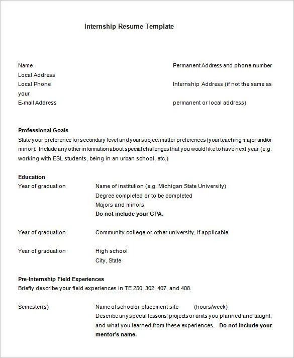 resume templates for law internships