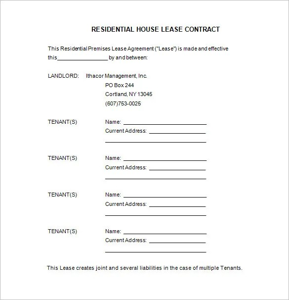 9+ Lease Contract Templates \u2013 Free Word, PDF Documents Download - contract templates in pdf