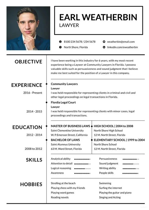 8+ Lawyer Resume Templates - DOC, Excel, PDF Free  Premium Templates