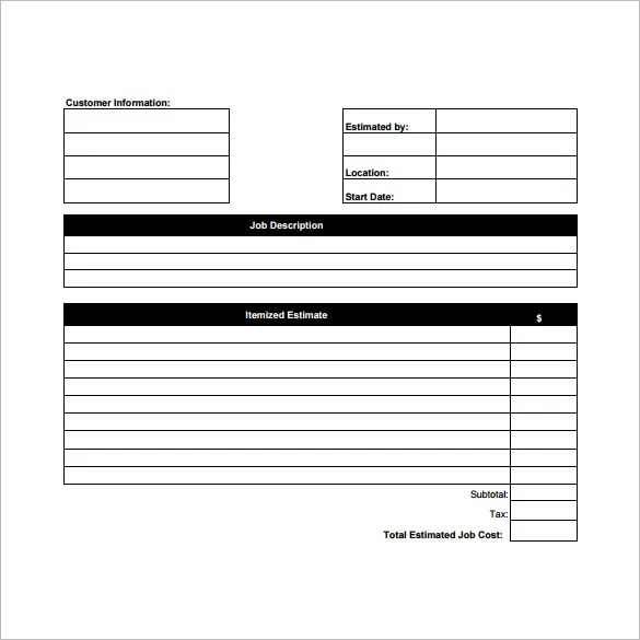 blank estimate sheet - Goalgoodwinmetals - estimating sheets template