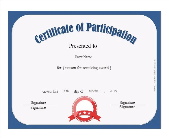 31+ Participation Certificate Templates - PDF, Word, PSD, AI