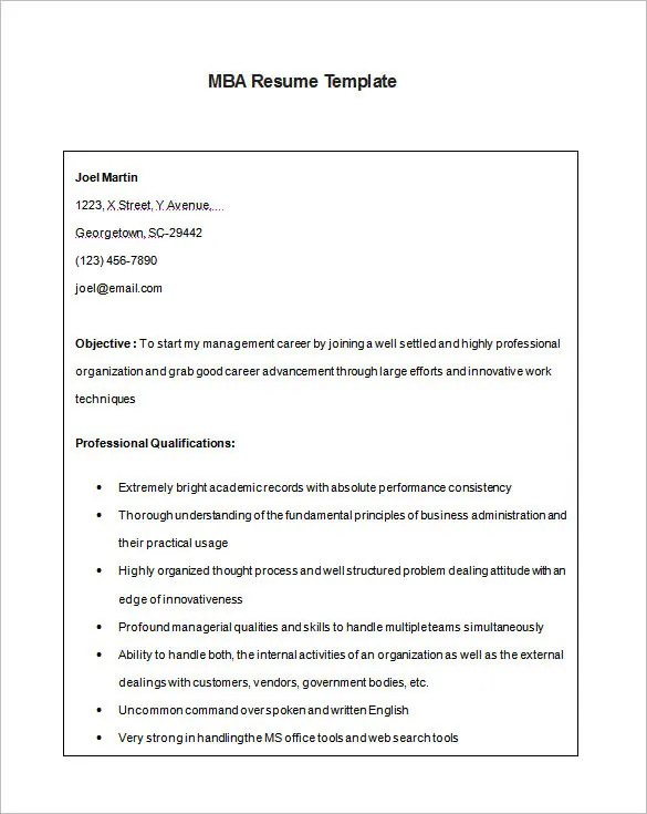MBA Resume Template \u2013 11+ Free Samples, Examples, Format Download - resume format for mba fresher