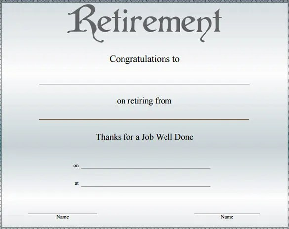Retirement Certificate Template Choice Image - template design free