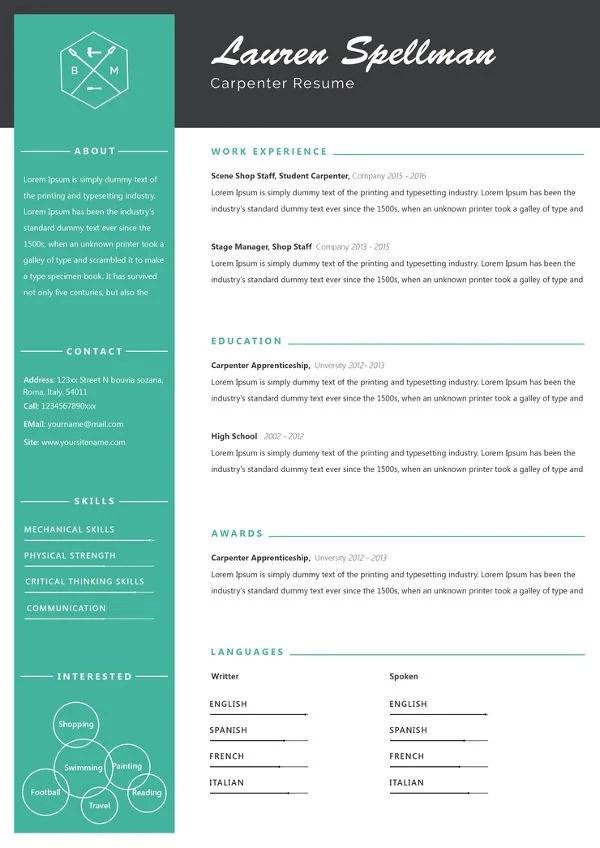 Carpenter Resume Template \u2013 9+ Free Samples, Examples, Format