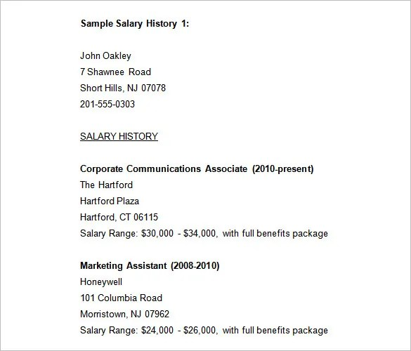9+ Sample Salary History Templates \u2013 Free Word, PDF Documents