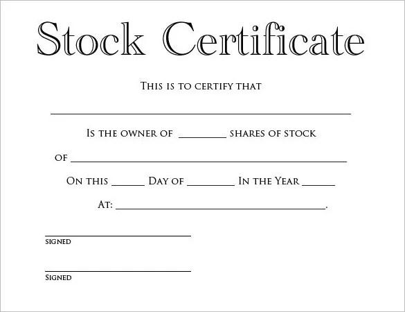 Share Stock Certificate Template \u2013 21+ Free Word, PDF Format
