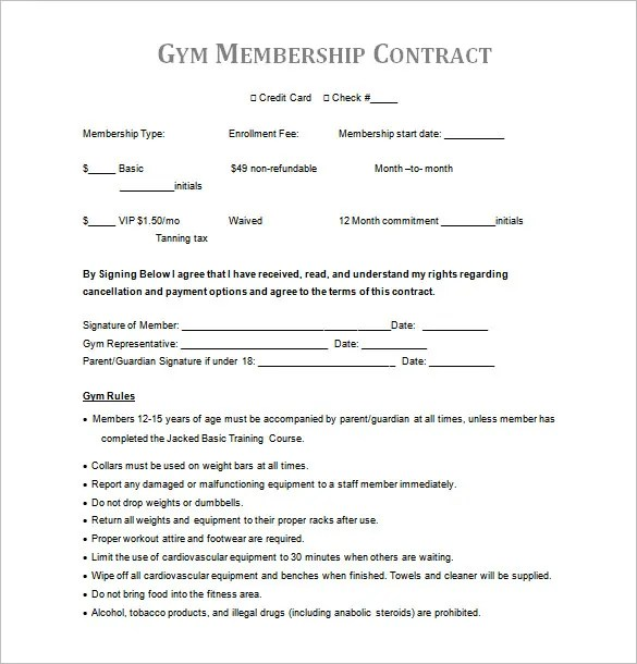 16+ Gym Contract Templates - Word, Docs, Pages Free  Premium