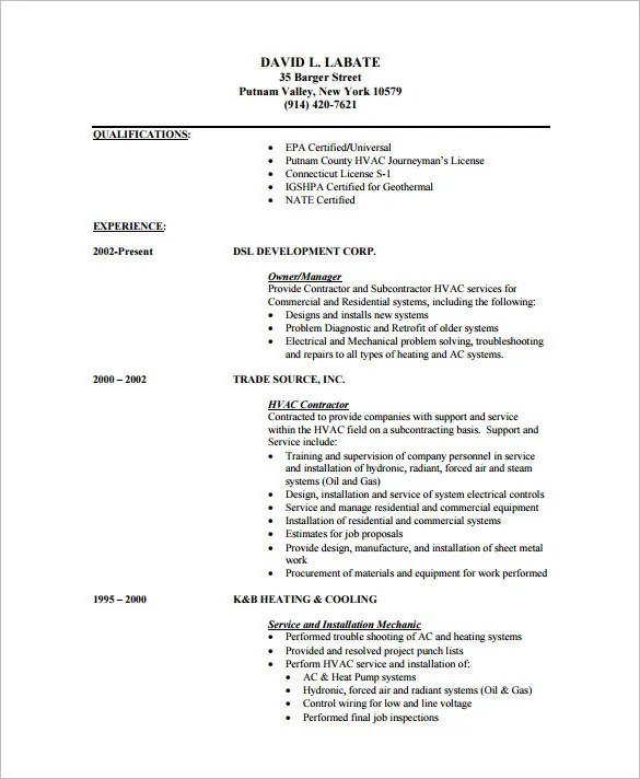 sample resume for hvac technician - Ozilalmanoof