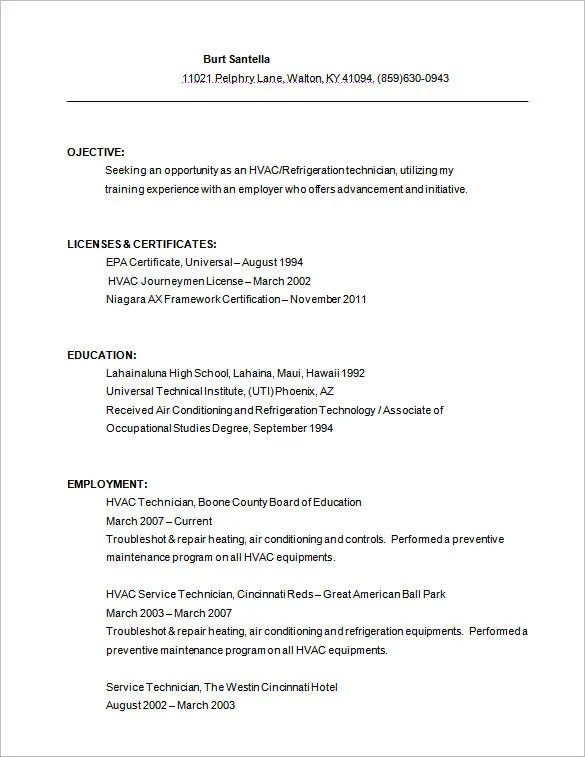 resume for hvac technician - Jolivibramusic