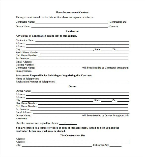 3+ Renovation Contract Templates u2013 Free Word, PDF Format Download - free construction contracts templates