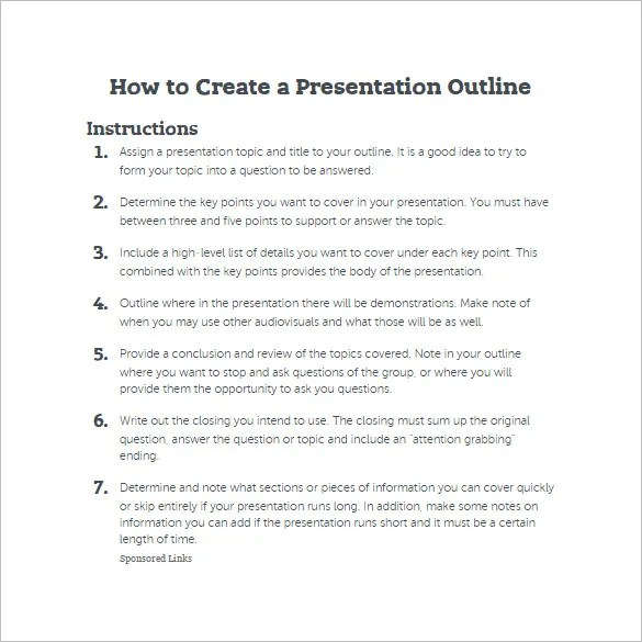 Presentation Outline Templates How To Create A Presentation - how to create evaluation form