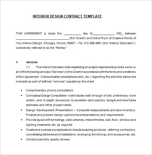 6+ Interior Designer Contract Templates u2013 Free Word, PDF Documents - interior design proposal template