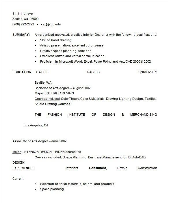 Fashion Designer Resume Template \u2013 9+ Free Samples, Examples, Format