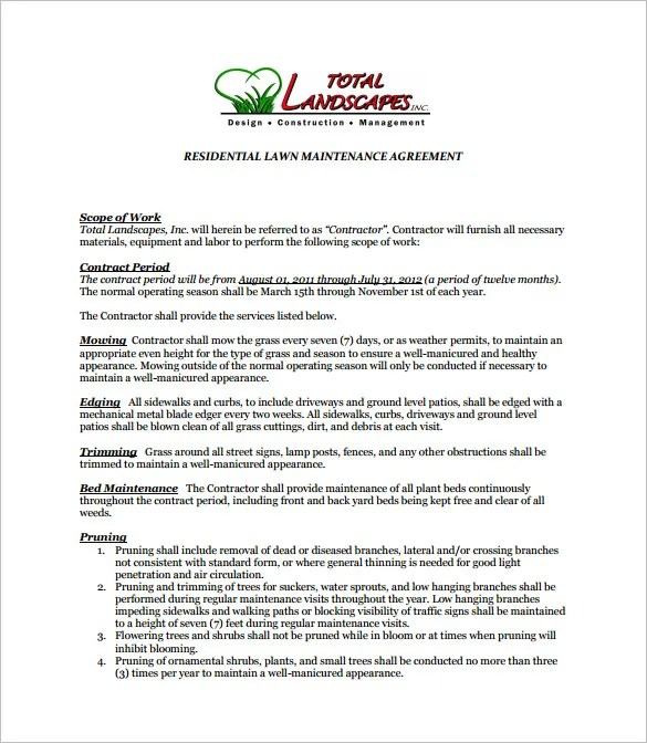 Maintenance Contract Agreement Service Maintenance Agreement For - business service agreement