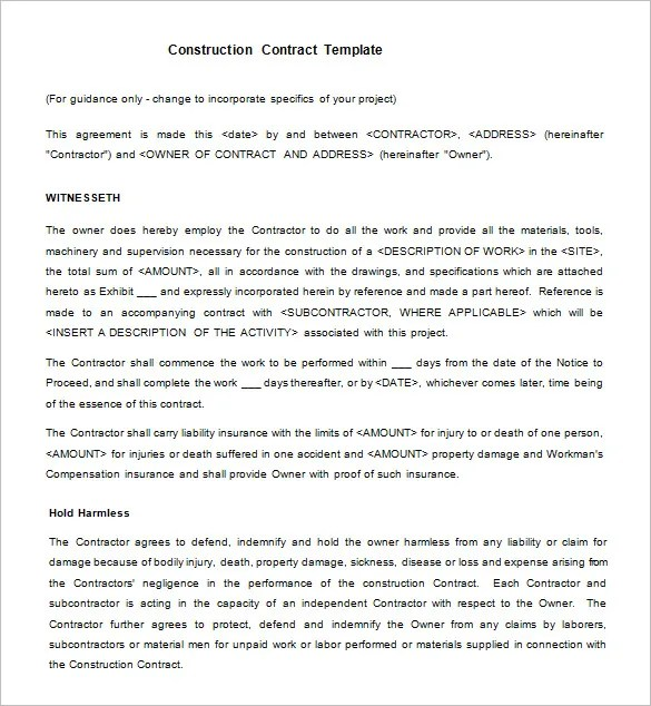 Contract Templates Templatebillybullock  - free construction contracts