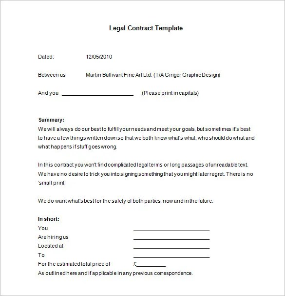 15+ Legal Contract Templates - Free Word, PDF Documents Download