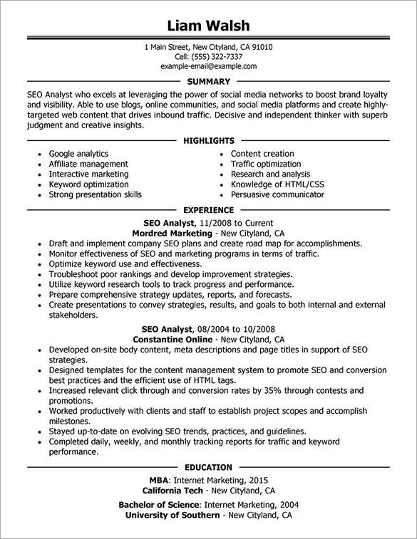 resume seo - Goalgoodwinmetals