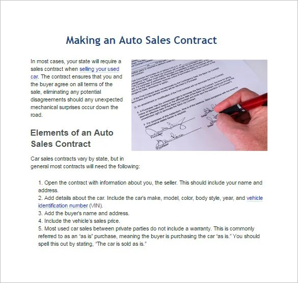 Sales Contract Template - 15+ Free Word, PDF Documents Download - Auto Contract Template