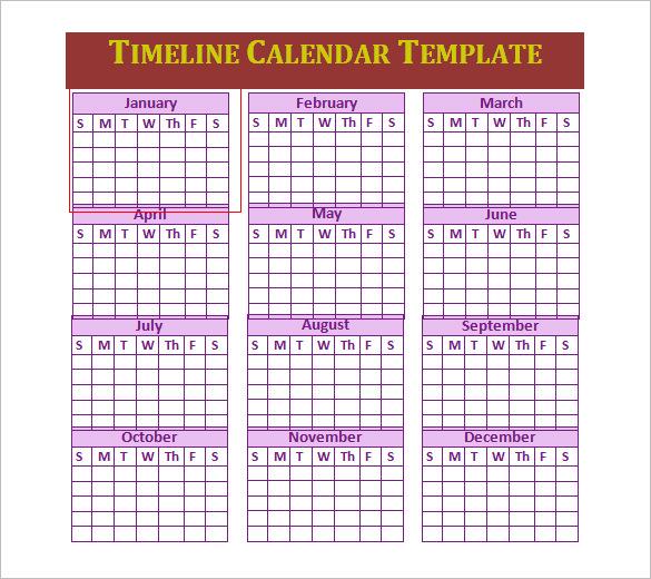calendar timeline template - Basilosaur - Calendar Timeline Template