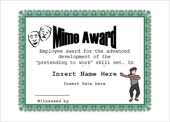 10+ Funny Certificate Templates \u2013 Free Word, PDF Documents Download - Silly Certificates Awards Templates