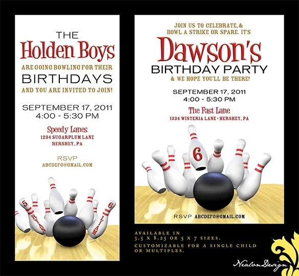 25+ Outstanding Bowling Invitation Templates  Designs! Free - Free Printable Bowling Party Invitations