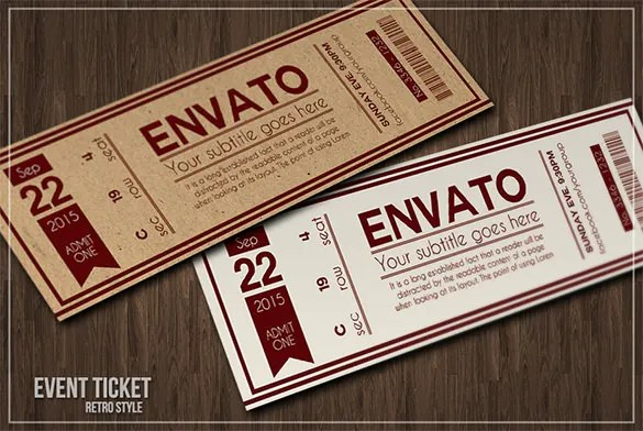 Ticket Templates \u2013 99+ Free Word, Excel, PDF, PSD, EPS Formats - free printable ticket style invitations