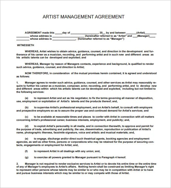 13+ Music Contract Templates u2013 Free Word, PDF Documents Download - music agreement contract