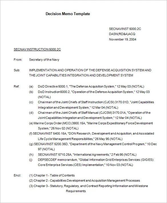 Decision Memo Template Navy Decision Memorandum Template Download - board memo templates
