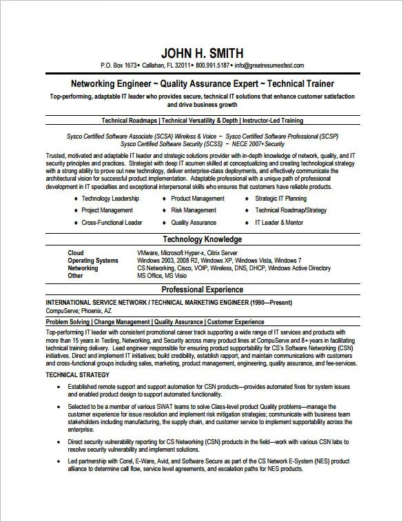 Sample Cv Fresher Network Engineer - Cisco Network Engineer CV Sample