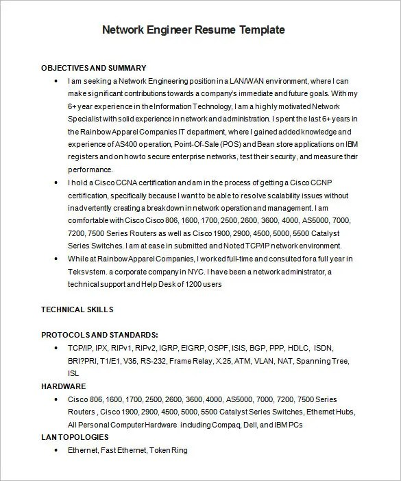 6+ Network Engineer Resume Templates - PSD, DOC, PDF Free