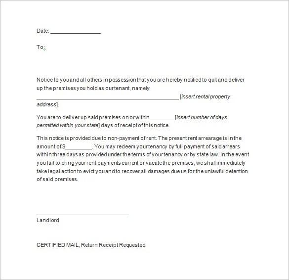 template notice to vacate rental property - Maggilocustdesign