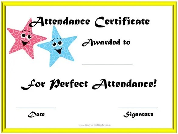 Attendance Certificate Templates u2013 23+ Free Word, PDF Documents - school certificate templates