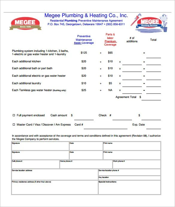 9+ Plumbing Contract Templates  Samples - DOC, PDF Free  Premium