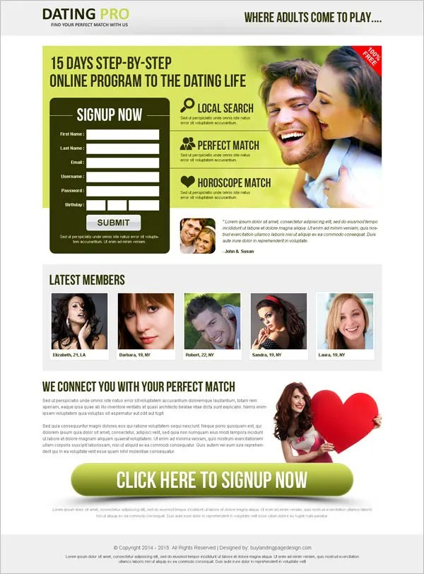 Premium & Responsive Dating Landing Page Template
