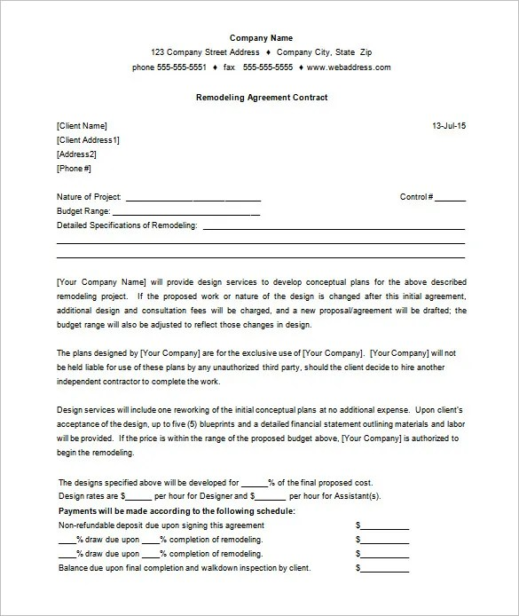 Remodeling Contract Template Sample  NodeCvresumePaasproviderCom