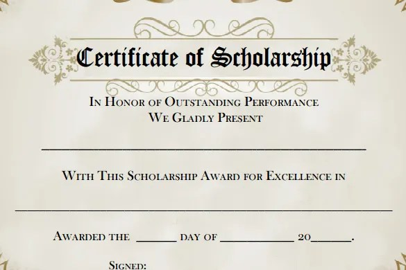 7+ Scholarship Certificate Templates - Word, PSD, Illustrator, In