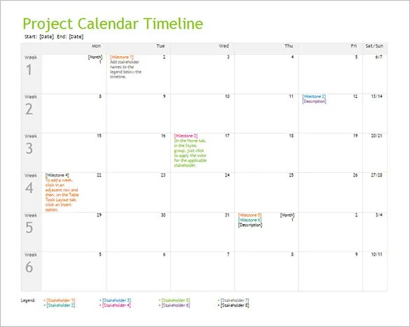 10+ Calendar Timeline Templates u2013 Free Word, PPT Format Download - project timeline template