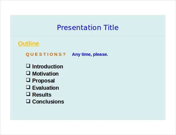 business presentation outline