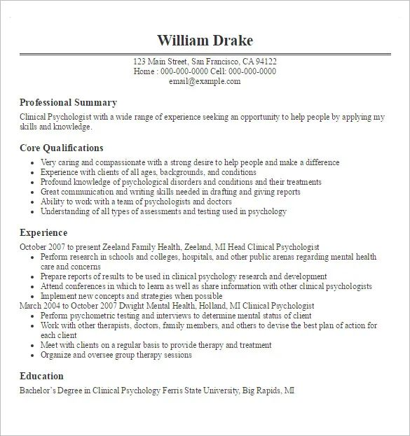resume template psychologist