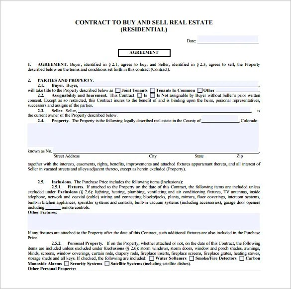 7+ Real Estate Contract Templates - PDF, DOC Free  Premium Templates - sample real estate purchase agreement