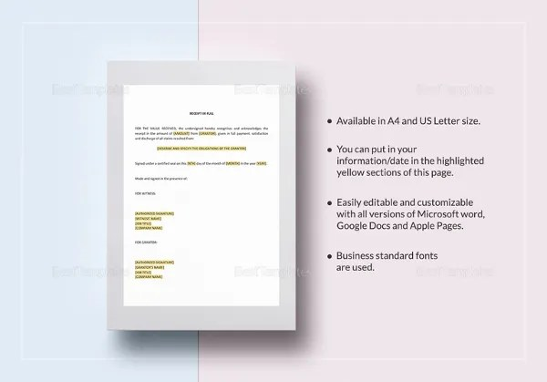 Receipt Template - 122+ Free Printable Word, Excel, AI, PDF Format - business receipt template word