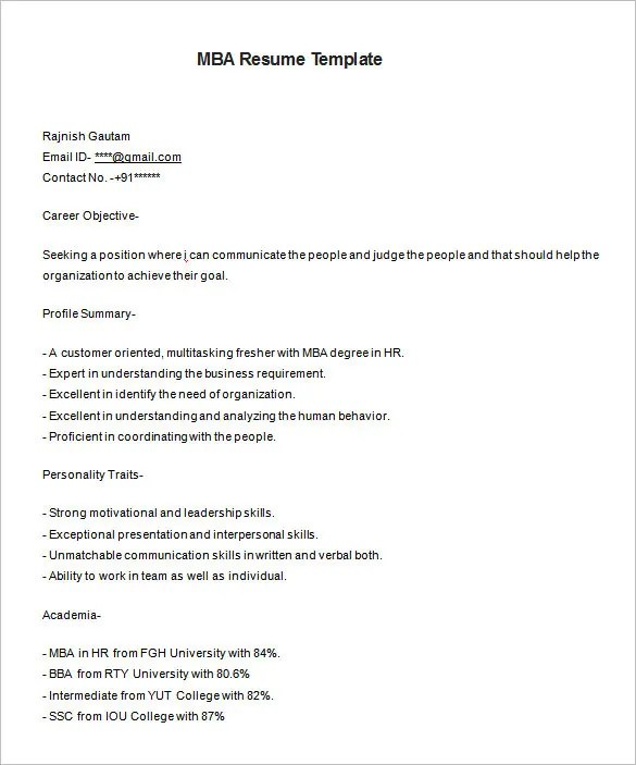 MBA Resume Template u2013 11+ Free Samples, Examples, Format Download - sample resume format for freshers