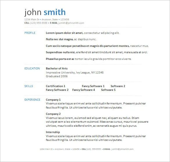 cv template free word download