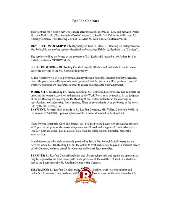 11+ Roofing Contract Templates - PDF Free  Premium Templates - roofing contract template