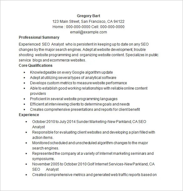 SEO Resume Template \u2013 12+ Free Samples, Examples, Format Download