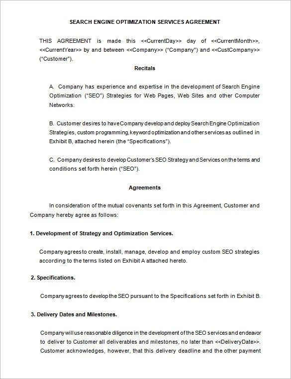 5+ SEO Contract Templates \u2013 Free Word, PDF Format Download! Free - microsoft word contract template free