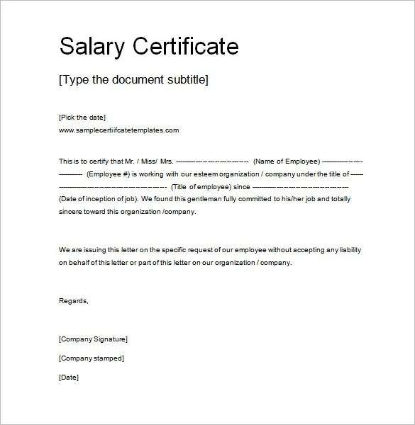 Employment Certification Letter Template Examples – Employment Certificate Sample