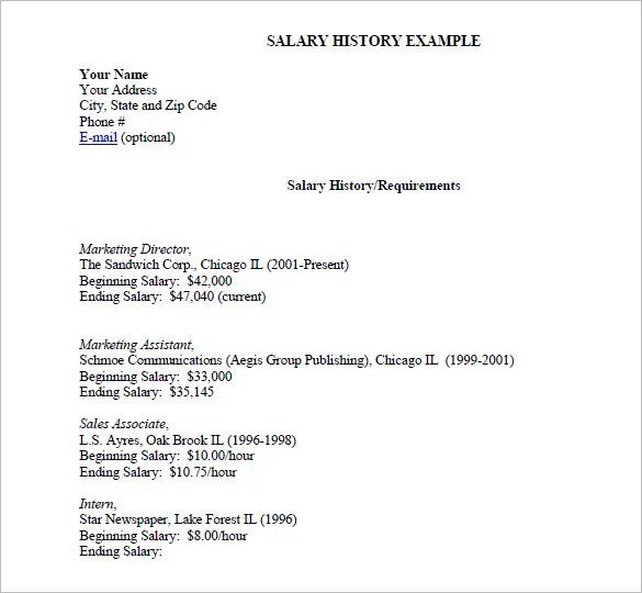 9+ Sample Salary History Templates \u2013 Free Word, PDF Documents - resume with salary history sample