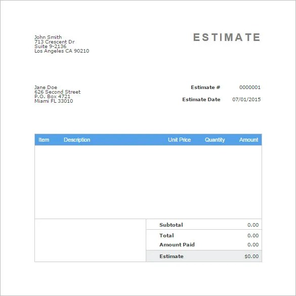 Blank Estimate Template u2013 23+ Free Word, PDF,Excel,Google Sheets - blank invoice template for microsoft word