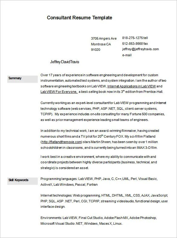 Consultant Resume Template \u2013 9+ Free Samples, Examples, Format